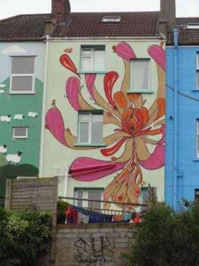 mural on the side of a Bristol house by Graft Gaffiti
