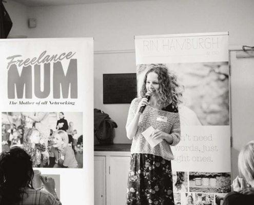 Rin Hamburgh speaking at Freelance Mum