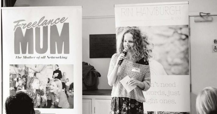 Rin Hamburgh speaking at Freelance Mum